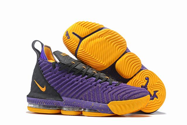 Nike Lebron James 16 Air Cushion Shoes Purple Black Yellow